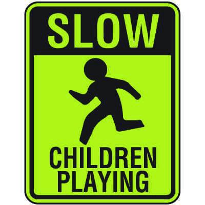 Fluorescent Slow Children Playing Signs