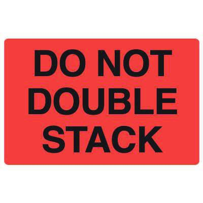 Fluorescent Warehouse & Pallet Labels - Do Not Double Stack
