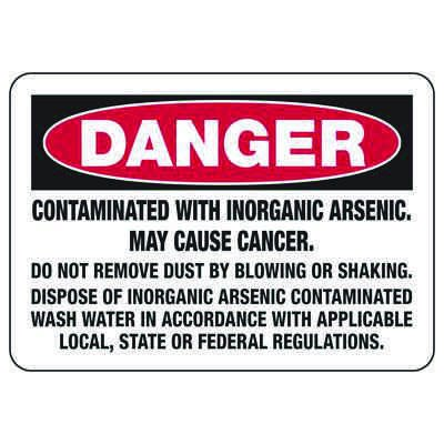 Mandatory GHS Safety Signs - Danger - Contaminated With Inorganic Arsenic