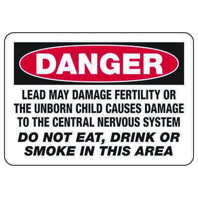 Mandatory GHS Safety Signs - Danger - Lead May Damage Fertility