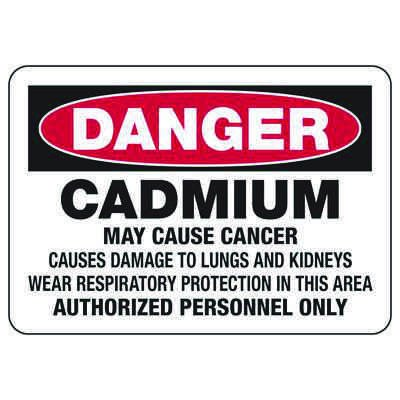 Mandatory GHS Safety Signs - Danger - Cadmium May Cause Cancer