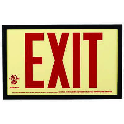 Jessup Glo Brite Photoluminescent UL924 Exit Sign P50 with Plastic Frame