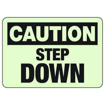 Caution Step Down Luminous Exit And Path Marker Signs