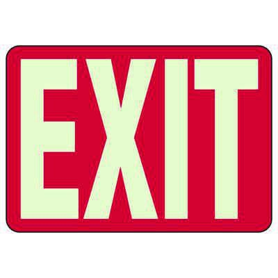 Luminous Red Exit Signs