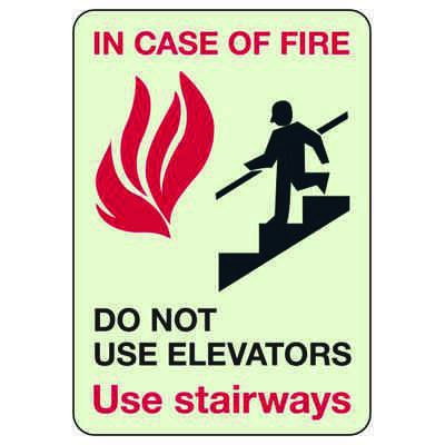Luminous Exit and Path Marker Signs - In Case Of Fire Do Not Use Elevators Use Stairways