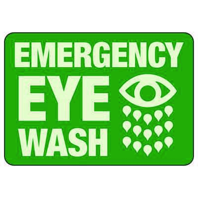 Emergency Eye Wash With Graphic - Glow-In-The-Dark Safety Signs