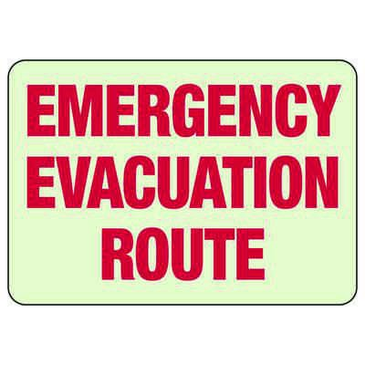 Emergency Evacuation Route - Glow-In-The-Dark Exit Signs
