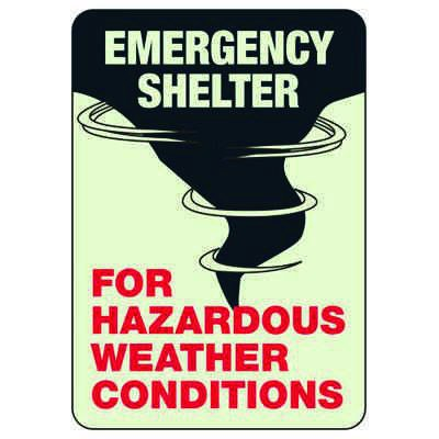 Luminous Exit and Path Marker Signs - Emergency Shelter For Hazardous Weather Conditions