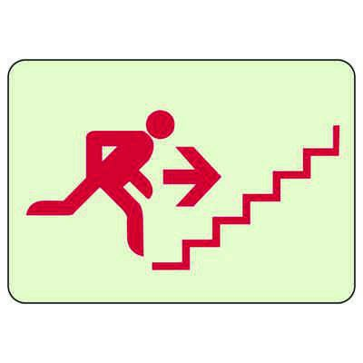 Exit Stairway With Man Running Up Right - Glow-In-The-Dark Exit Signs