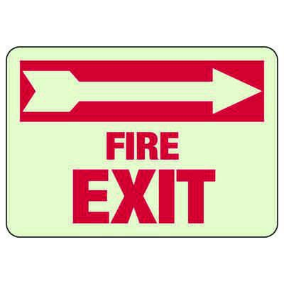 Fire Exit Arrow Right - Glow-In-The-Dark Exit Signs