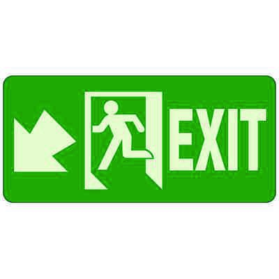 Exit With Diagonal Down/Left Arrow - Glow-In-The-Dark Exit Signs