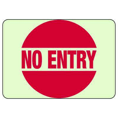 No Entry - Glow-In-The-Dark Safety Signs