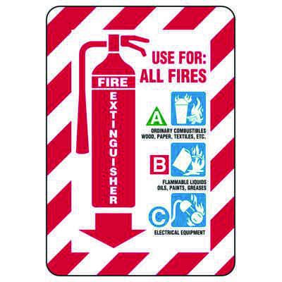 Use For All Fires - Glow-In-The-Dark Fire Extinguisher Signs