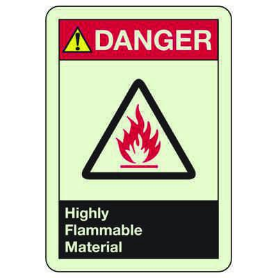 Danger Highly Flammable Material - Glow-In-The-Dark Safety Signs