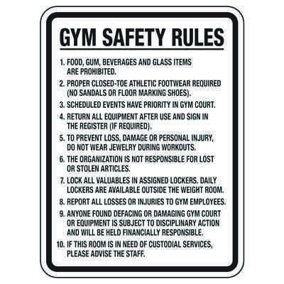 Gym Rules Signs - Gym Safety Rules