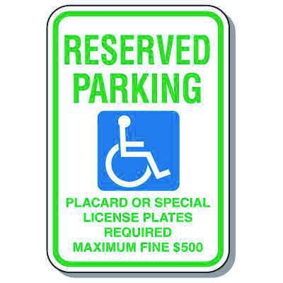 Hawaii State Handicap Signs - Reserved Parking Placard Required Fine $500