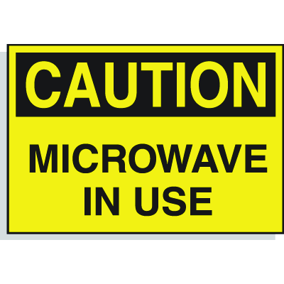 Hazard Warning Labels - Caution Microwave In Use