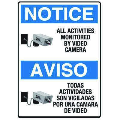 Heavy Duty Bilingual Security Signs - Notice/Aviso All Activities Monitored