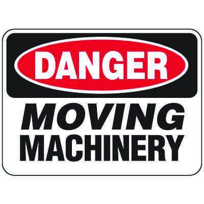 Heavy-Duty Hazardous Work Site Signs - Moving Machinery