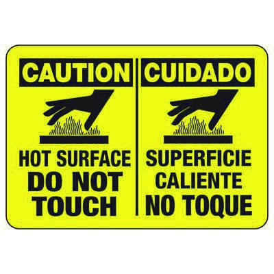Caution Hot Surface Do Not Touch - Bilingual Industrial Hot Work Signs