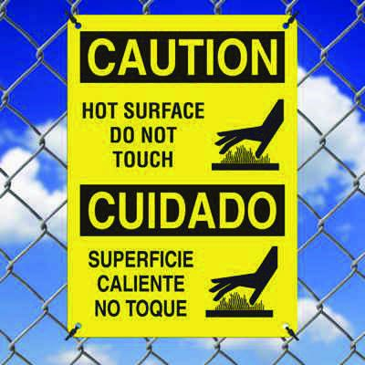 Hot Work Signs - Caution Hot Surface Do Not Touch (Bilingual)