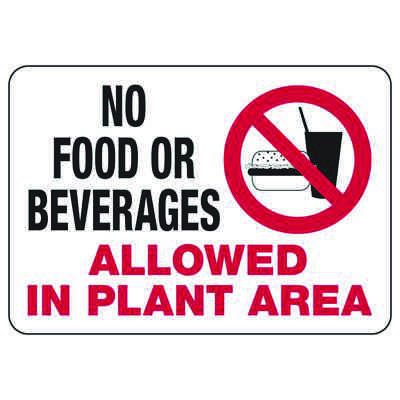 No Food or Beverages In Plant Area - Industrial Housekeeping Sign
