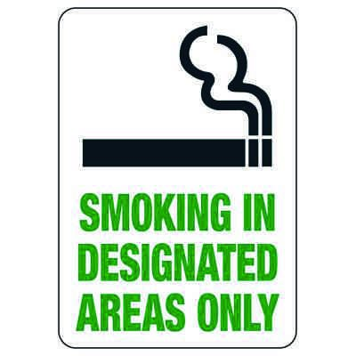Smoking in Designated Areas Only Signs - Aluminum, Plastic or Vinyl (w/Graphic)