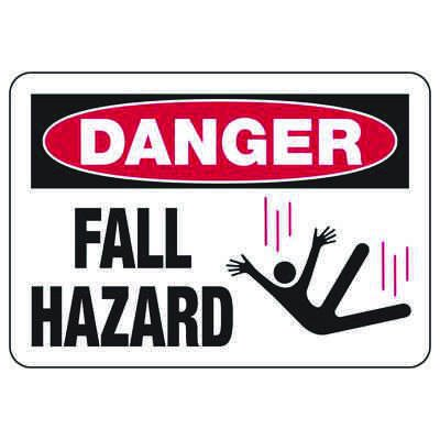Danger Fall Hazard - Industrial Construction Sign