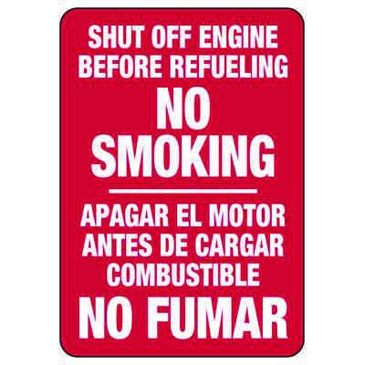 Shut Off Engine Before Refueling No Smoking - Bilingual Forklift Signs