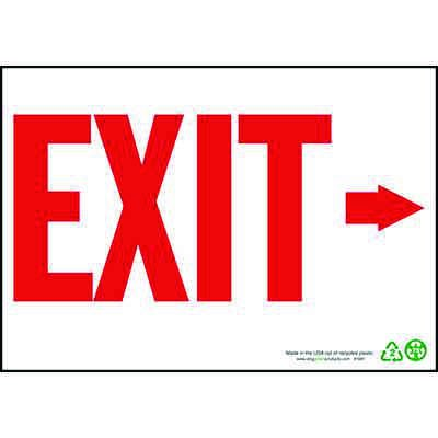 Exit Sign Right Arrow, Red on White