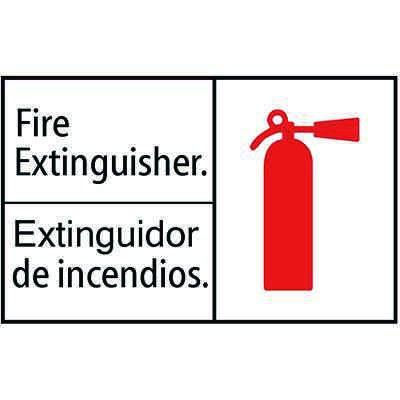 Fire Extinguisher w Pictogram - Bilingual Sign