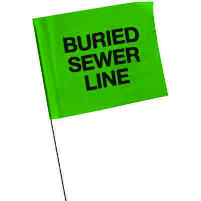 Marking Flags - Buried Sewer Line