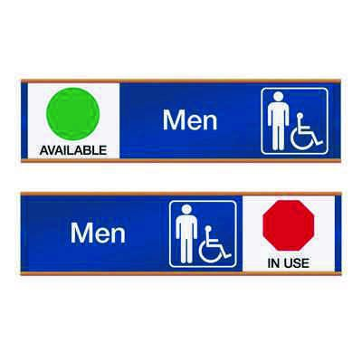 Men W/ Accessibility Available/In Use - Engraved Restroom Sliders