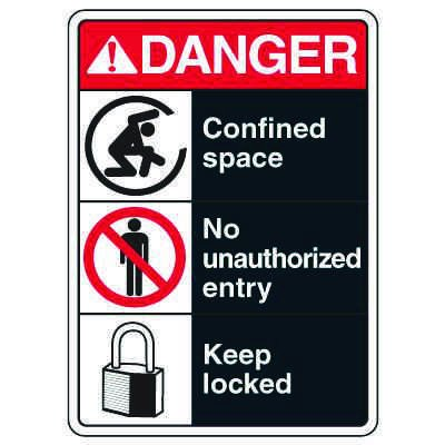 ANSI Signs - Danger Confined Space, No Unauthorized Entry, Keep Locked