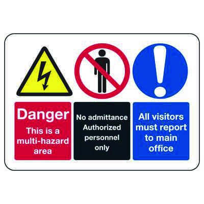 ANSI Danger Signs - Multi-Hazard Area, No Admittance, Visitors Must Report to Main Office