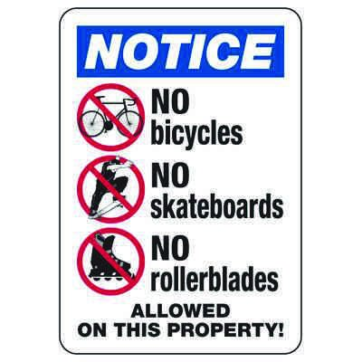 No Bicycles Allowed On This Property - ANSI Security Sign