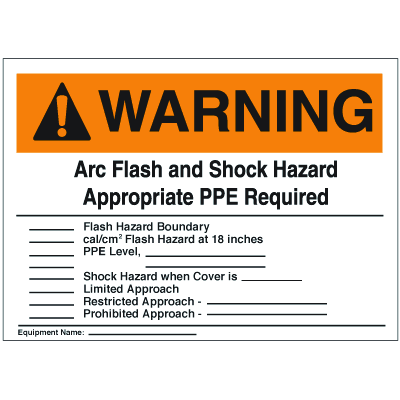 NEC Arc Flash Protection Signs - Warning Arc Flash And Shock Hazard Appropriate PPE Required