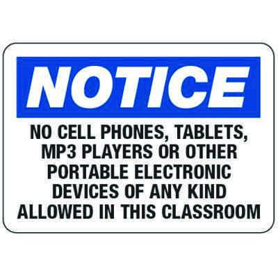 No Cell Phones, Tablets, MP3 Players - Classroom Signs