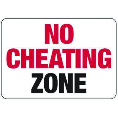 No Cheating Zone - Classroom Signs