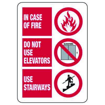 In Case Of Fire - Industrial No Exit Signs