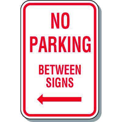 No Parking Signs - No Parking Between Signs (Left Arrow)