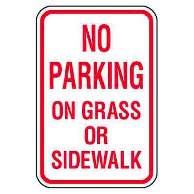 No Parking Signs - No Parking On Grass Or Sidewalk