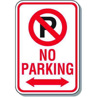 No Parking Signs - No Parking (With Symbol & Double Arrow)