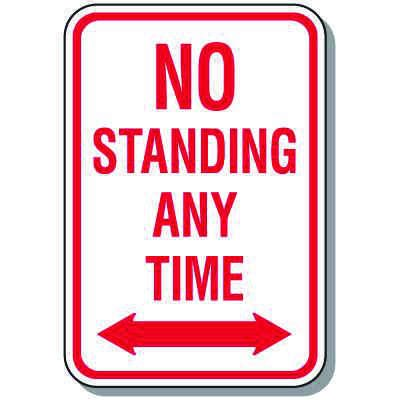 No Parking Signs - No Standing Anytime (Double Arrow)