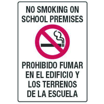 No Smoking On School Premises - Bilingual Smoking Policy Signs