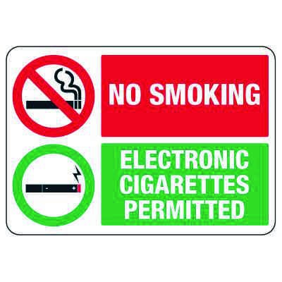 No Smoking Signs - Electronic Cigarettes Permitted