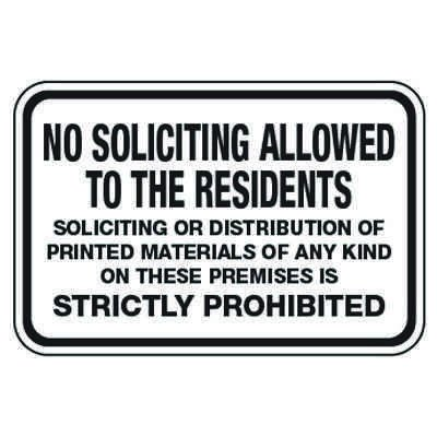 No Soliciting Allowed to Residents - Property Protection Signs