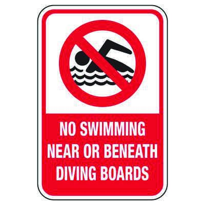 No Swimming Near Or Beneath Diving Boards - Pool Signs