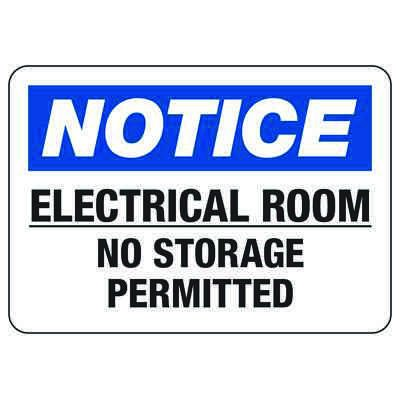 Lockout/Electrical Signs - Electrical Room No Storage Permitted