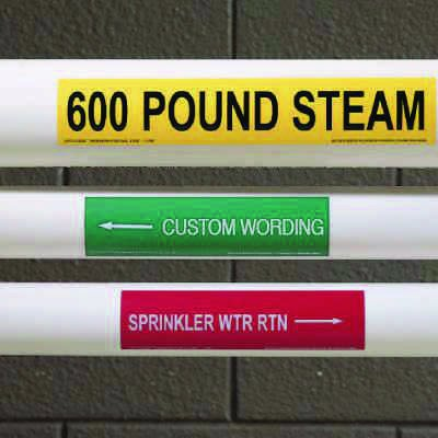 "Custom One-Of-A-Kind Self-Adhesive Pipe Markers - 12"" x 2-1/4"" Size"